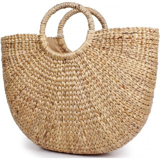 FAIR TRADE NATURAL RATTAN BASKET WATER HYACINTH LARGE BASKET