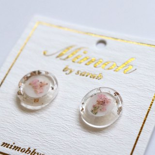 Pink Pressed Flower Earrings with Gold Leaf