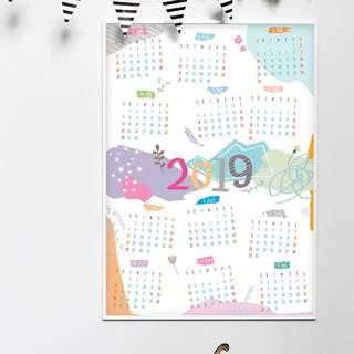 2019 Collage Theme Calendar Poster Print, Wall Calendar, Holiday gift, Wall art