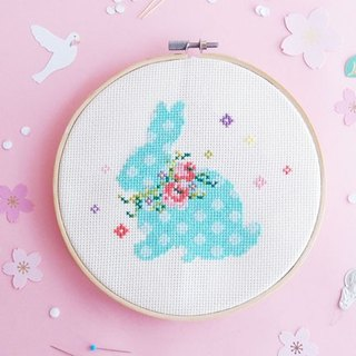 Cross Stitch KIT - Bunny with Floral Wreaths - Spring is here ~