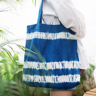 Better to go to plant dyed blue dyed women's handmade line art retro men and women portable green bag bag grocery bag double / large capacity with a bag new year gift