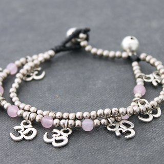 Silver Beaded Stone Charm Bracelets, Rose Quartz Beads Yoga Bracelets