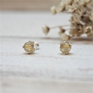 << Natural raw ore pure silver ear needle - titanium crystal >> Lucky business (other hair less)