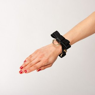 REAL LEATHER BOW BRACELET  --  BLACK
