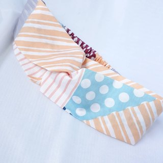 Orange striped dot stitching handmade hair band