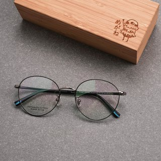 Korean retro metal round frame ultra light frame glasses frame black and silver