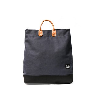 Point bag [icleaXbag] simple L leather canvas shopping bag portable including strap blue