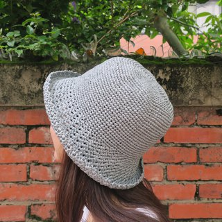 A mother's hand made cap - summer paper rope cap / simple middle cap / simple gray / outing / gift