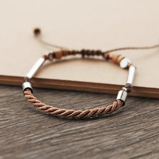 Light brown twisted rope adjustable bracelet unisex bracelet
