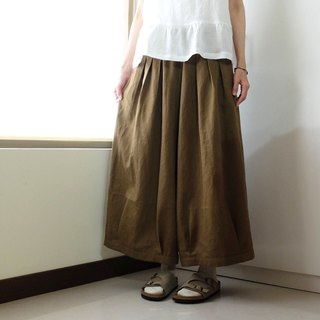 Everyday clothes playful girl olive brown pleated wide pants cotton