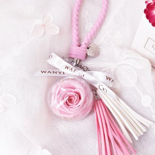 Do not wither flower rose key ring (pink rose) dry flower beauty and beast eternal flower wedding small things