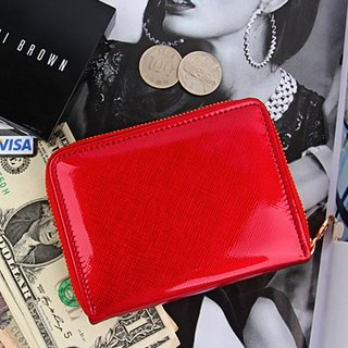 韓國Socharming-鏡面手風琴短夾 Glossy Accordion Purse-Red