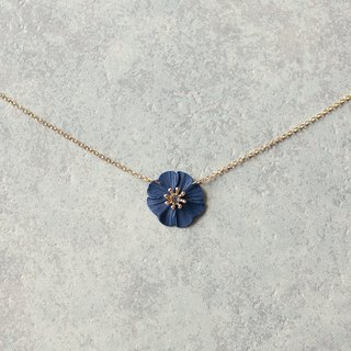 One flower necklace / navy