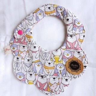 Penguin and Bear Pai Pai Pai - Powder - Eight-prong 100%cotton Swift Circular Bib. Saliva Towel