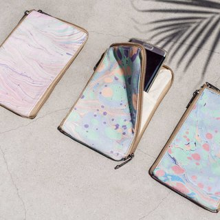Marble Mobile Phone Cases Organizer Phone Bag Leisure Card Holder - Ocean Fun Macarons Floating Dyeing