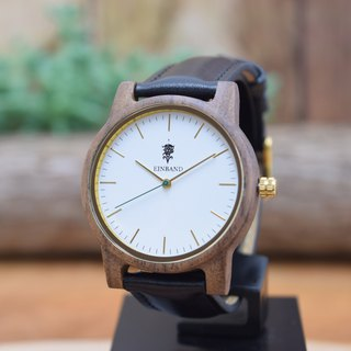 EINBAND Glanz WHITE 36mm Wooden Watch Black Leather Belt