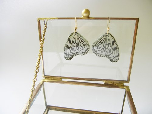 *Coucoubird*white butterfly wing earring / adjustable clip type