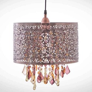 BNL00012- black brush carved copper chandelier pattern
