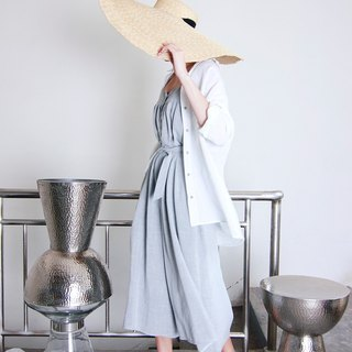 MAODIUL loose type of gray texture linen deduction design harness piece skirt pants