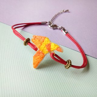 Origami Department embroidery orange gradient fly paper crane bracelet hand embroidery