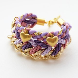 Purple braided gold chain bracelet with brass heart charm