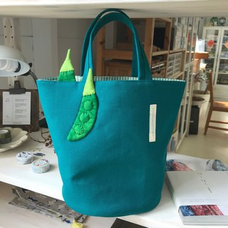 Bowl bean bag / lunch bag / blue green bottom