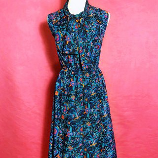 Blue totem bow tie sleeveless vintage dress / abroad brought back VINTAGE