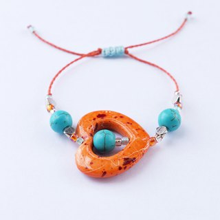 Orange painted heart with turquoise beads string bracelet