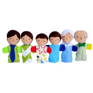 Families of finger puppets / tan skin color /  6 dolls / 布娃娃