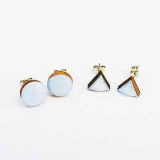 Tiny geometric triangle and circular wood earrings - light gray blue