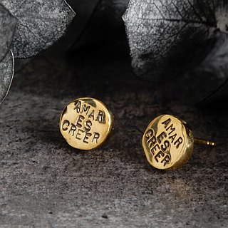 circle Stud message pierced earring / brass