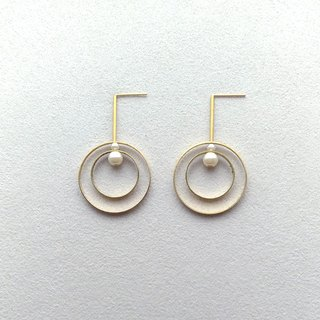 E045-Rotate 1-Brass Pearl Needle Clip Earrings