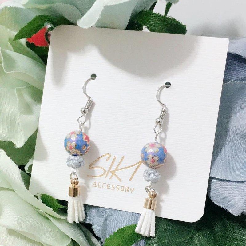 【可轉耳夾】日本入口彩繪珠 配 中國繩結 皮流蘇 耳環