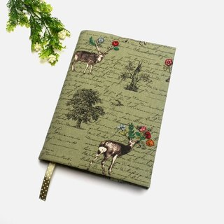 Sika deer book cover with bookmark handmade Print Cotton Fabric canvas