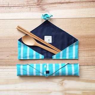 DailyPOUCH including chopsticks & spoon blue stripe+dark blue linen