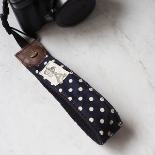 Handmade camera wrist strap camera rope store and camera strap (dark blue white point) H08