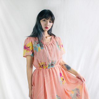 Powdered Orange Large Flower Short Sleeve Vintage Dress
