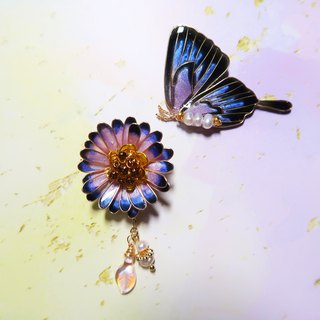 Miss Paranoid Paranoia Miss Daisy with Pink Swallowtail Butterfly Resin Earrings 925 Silver Needle