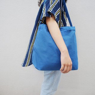 2 way canvas tote bag-Blue No.2