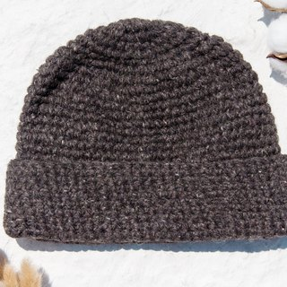 Hand-knitted pure wool hat / woven hat / knitted hat / inner bristles crocheted wool cap / wool cap - mixed coffee