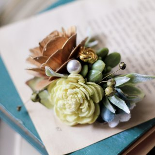 Hair Accessories / hairpin dried flowers and artificial flowers [series] Golden Rose and succulents