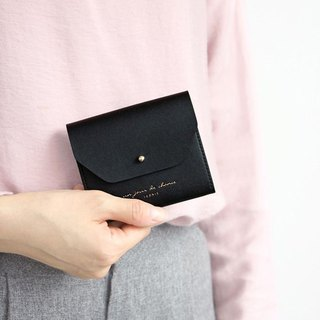 ICONIC Staff Style Leather Ticket Holder Coin Purse M- Temperament Black, ICO52187