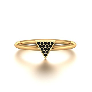 【PurpleMay Jewellery】18k Yellow Gold Black Diamond / Ruby Thin Ring Band R014