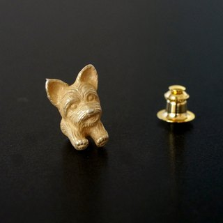 Yorkshire terrier dog pin brooch brass