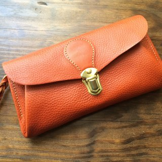"Italian leather * long wallet ""series-envelope"" terra cotta brown"