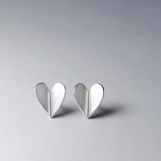 About Love-Small Heart Silver Earrings/ handmade,stud earrings