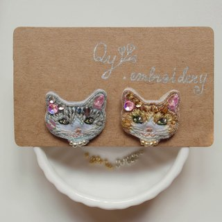 Qy's cats silver and silver cat hand embroidery earrings ear clip ear clip Christmas gifts