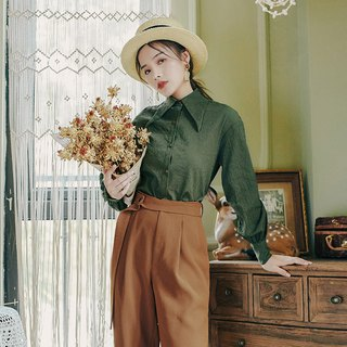 Early autumn wear new 2018 centuries retro fashion solid color butterfly collar shirt