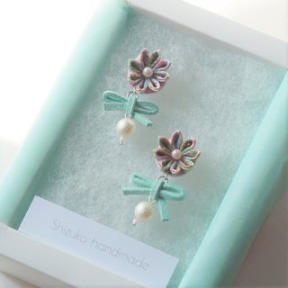 Cute tiffany blue bow and Flower Drop Earrings Clip-on 14KGF, S925 custom
