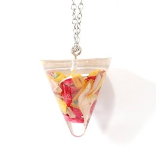 Colour Freak Studio Colourful Bright Dried Flower Necklace / Conical pendant / Flower In Ice Series